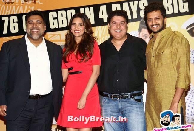 Ram Kapoor, Esha Gupta, Sajid Khan and Ritesh Deshmukh, Esha Gupta Pics in Red Dress at Humshakals Success Party