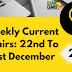 Weekly Current Affairs 22nd To 31st December 2019