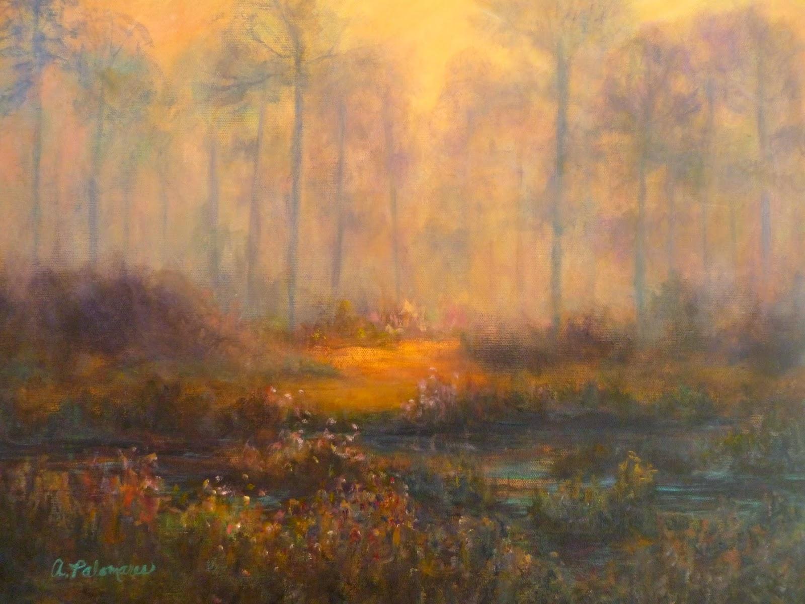 A marsh at sunrise painting on Jekyll Island