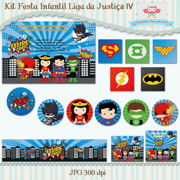 Kit de artes digitais para festa infantil Liga da Justiça