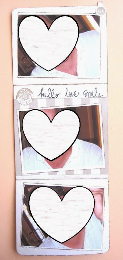 foto 9 decoración interior LOVE mini-álbum tarjeta tríptico vertical completamente abierta con tres fotos)