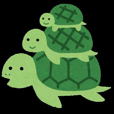 三段重ねの亀の親子のイラスト