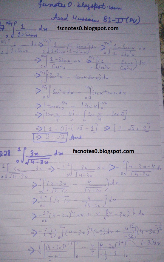FSc ICS Notes Math Part 2 Chapter 3 Integration Exercise 3.6 question 24 - 28 by Asad Hussain 2