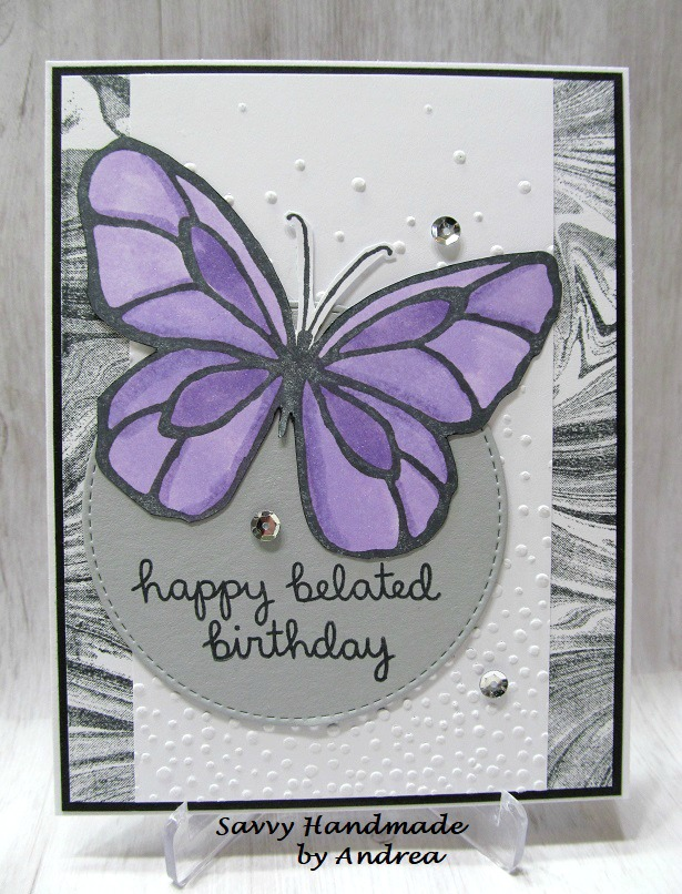 Savvy Handmade Cards Butterfly Belated Birthday Card