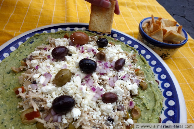 http://www.farmfreshfeasts.com/2013/06/five-layer-mediterranean-chicken-dip.html