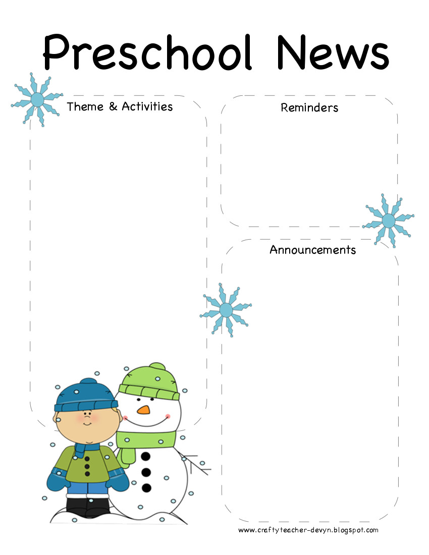 prewinter January Kindergarten Newsletter Template on cixi angel, for plants, end year, things practice, fair use, december gingerbread,