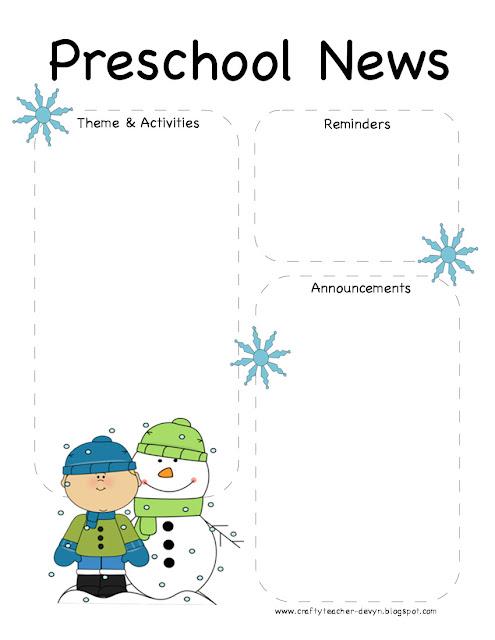Preschool Winter Newsletter Template | The Crafty Teacher