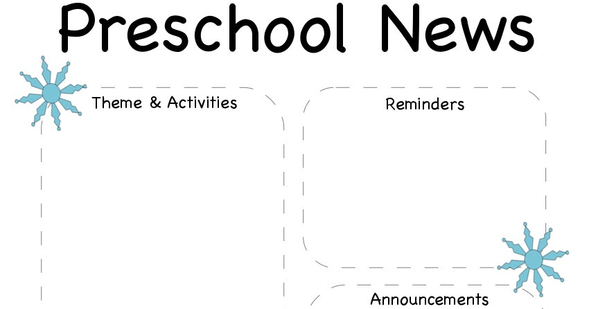 The Crafty Teacher: Preschool Winter Newsletter Template