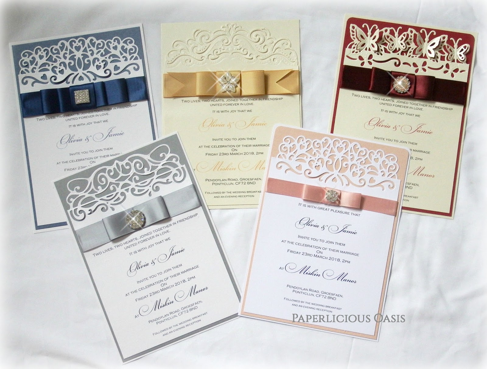 Paperlicious oasis for A5 pocketfold wedding invitations
