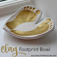 clay footprint bowl keepsake - Valentines day heart craft for kids.