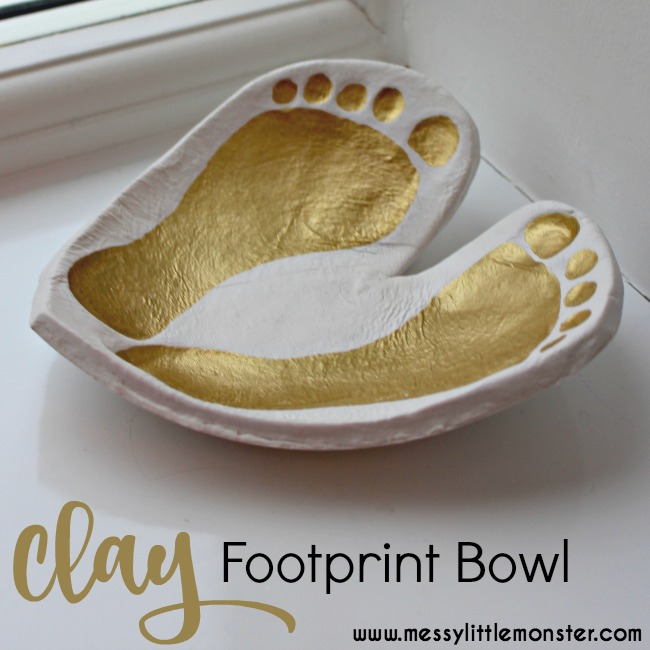 Learn how to make a clay footprint bowl keepsake using our easy diy instructions. Use baby or toddler footprints and air dry clay to make a heart ring dish craft to treasure. An easy homemade gift idea for parents or grandparents.