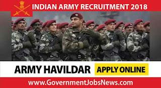 Indian Army Recruitment 2018 Army Havildar Post Apply Online