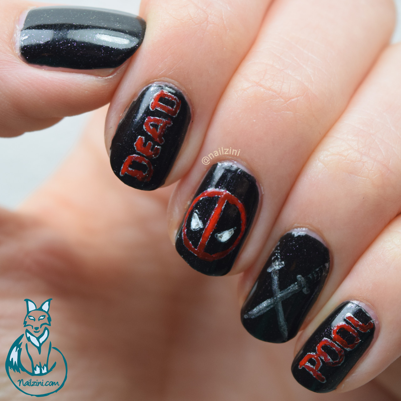 Deadpool Nail Art - Deadpool Nail Art Nailzini: A Nail Art Blog