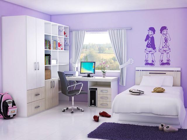 D coration chambre fille violet chambre de fille - Couleur chambre ado fille ...
