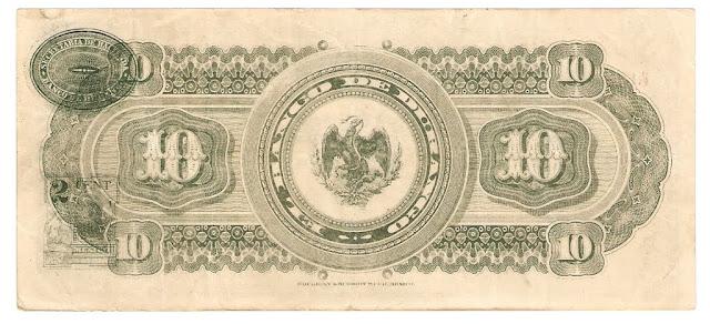 papel moneda en Mexico 10 Pesos El Banco de Durango