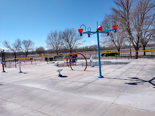 wheelchair accessible splash pad at Sioux City's Miracle Field adaptive sports complex and playground