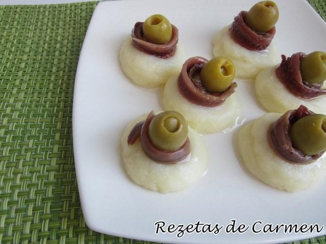 Ideas de canapé: Nidos de puré de patata con anchoas