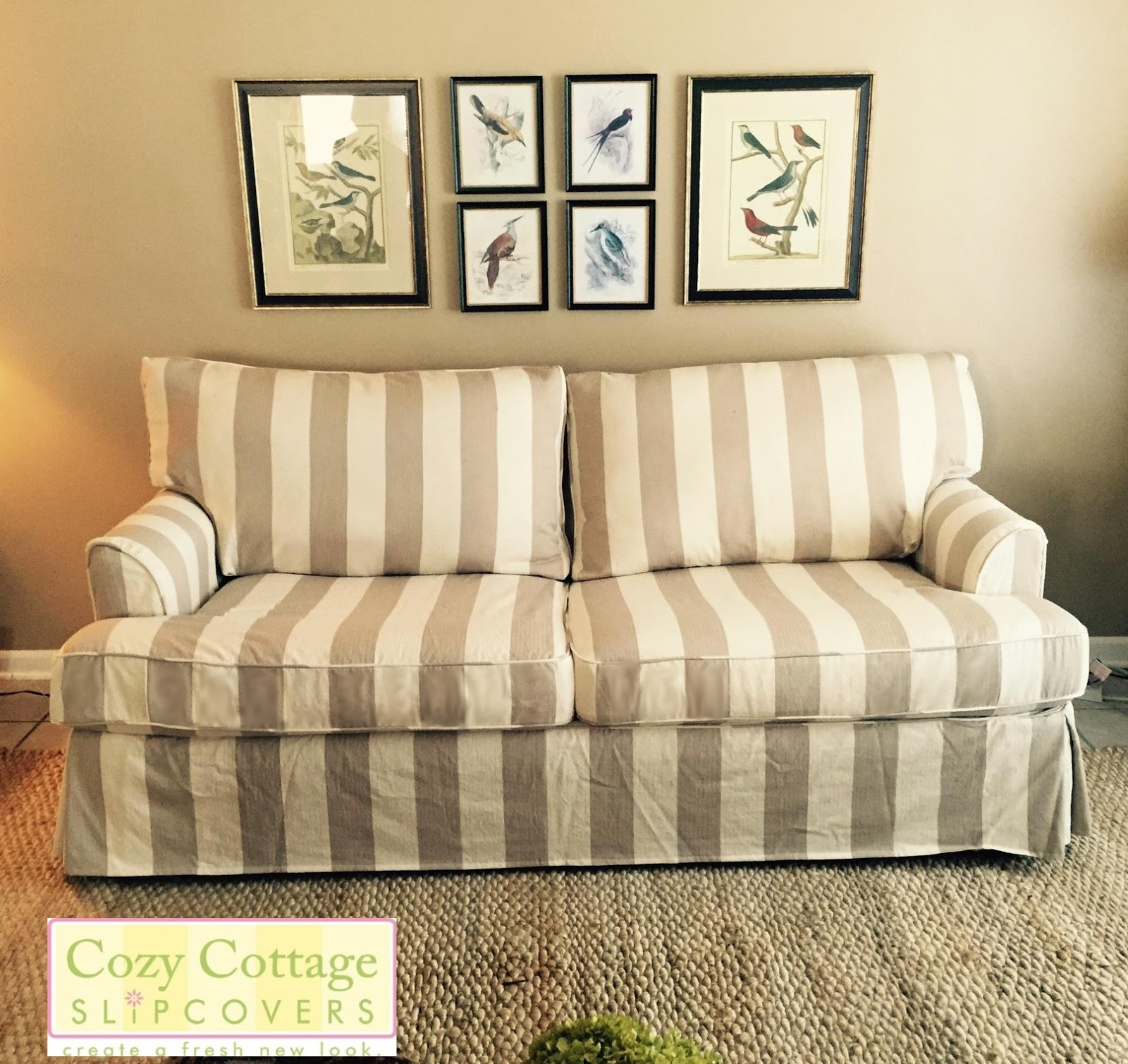 Navy Blue Striped Sofa Sofas Used Sale Slipcovers For Design Cottage