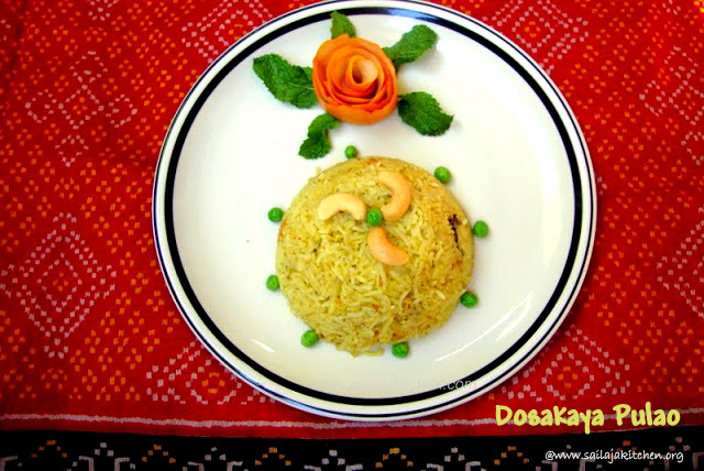 images of Dosakaya Pulao / Dosakaya Rice / Yellow Cucumber Pulao - Rice Recipes / lunch Box Recipes