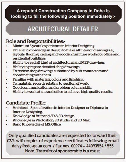 Job Qatar Architectural Detailer Job Vacancy In Qatar
