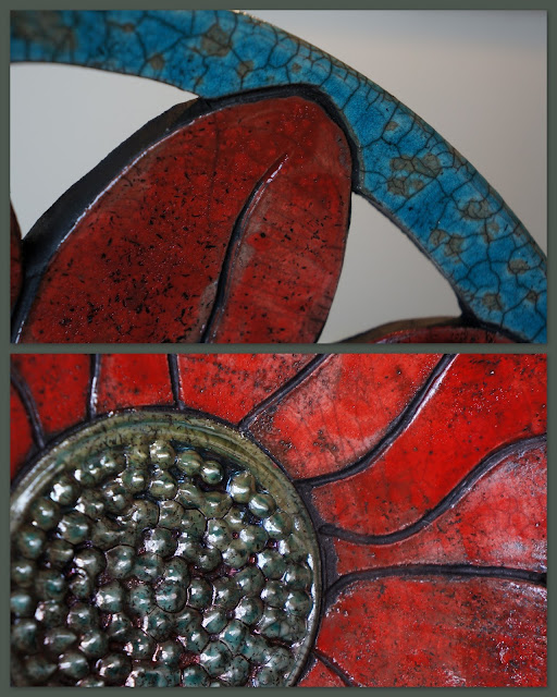 Details of a floral raku-fired plate by Lily L.