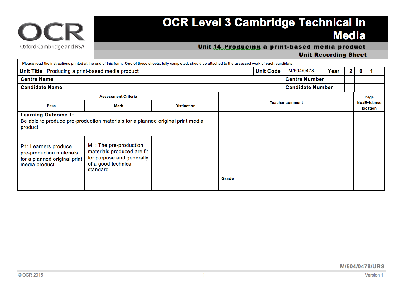 ocr level 3 cambridge tech unit 17 Free essay: d1 – explain the benefits and drawbacks of the different formats that can be used to deliver interactive media authored products in this report.