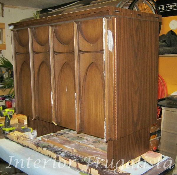 MCM Sewing Cabinet Before with broken door trim