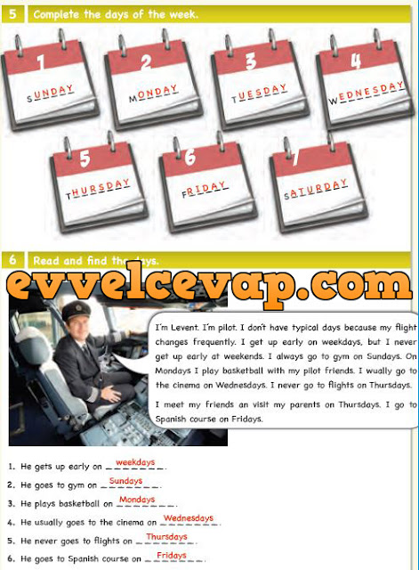 6. Sınıf Ada Matbaa Yayınları İngilizce Çalışma Kitabı 44. Sayfa Cevapları Unit 7 Occupations