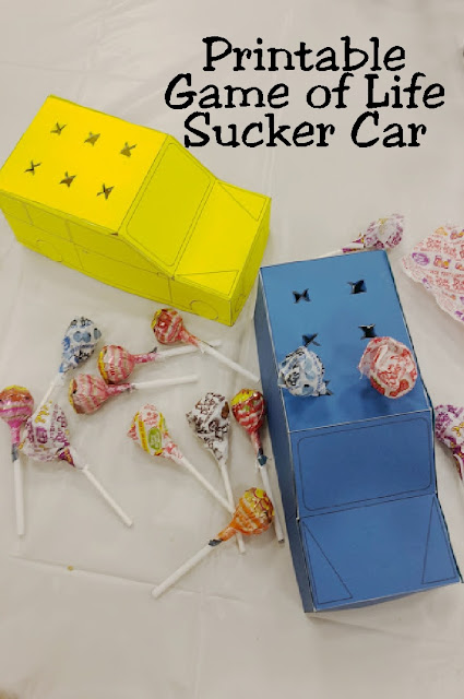 Add a fun party favor or statement piece to your Game night dessert table with this printable Game of Life car.  Game car holds 6 suckers so it looks like the actual game piece but instead is a great addition to your Game Night party.