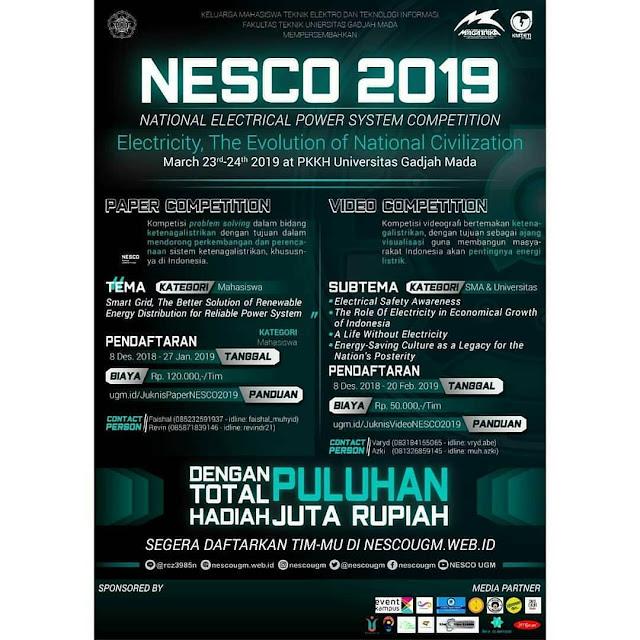 Lomba Paper & Video NESCO 2019 SMA Sederajat/Mahasiswa