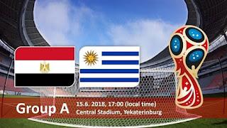 انتهت مباراه مصر واوروجواي  اليوم 15-6-2018 بنتيجه 1 - 0 لصالح اوروجواي