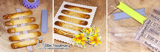 Missing You Card by Ellen Haxelmans | Easter Lily Stamp Set, Heartfelt Essentials Stamp Set, Banner Trio Die Set and Tree Rings Stencil by Newton's Nook Designs #newtonsnook #handmade