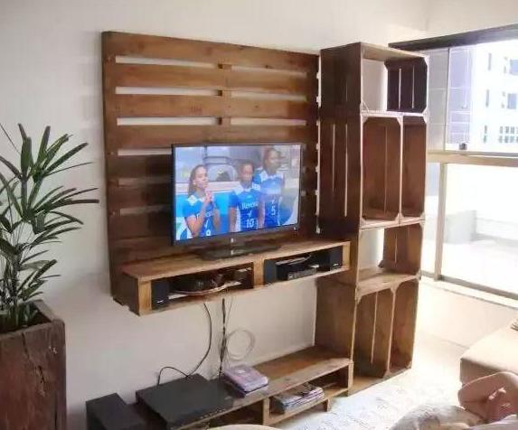 Palets de madera for Living comedor con palet de madera