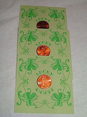 St. Patrick's Day Gift Idea, Lucky Pennies Cards