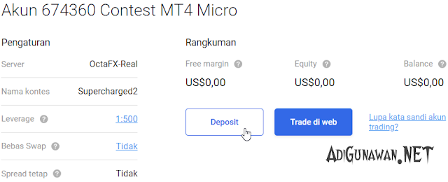 Deposit Rupiah di akun OctaFX