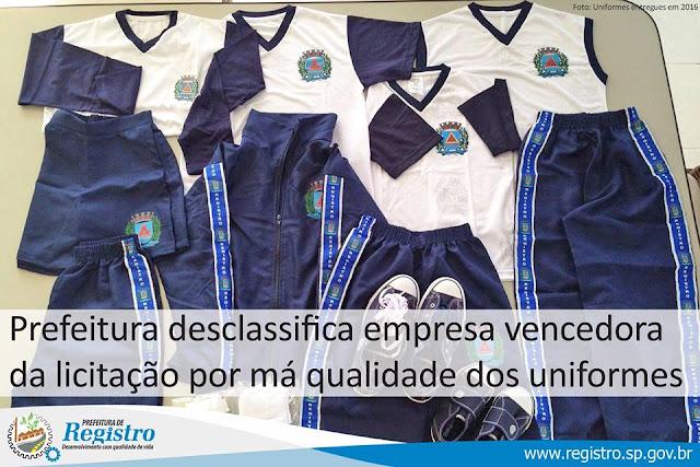 Prefeitura de Registro-SP desclassifica empresa vencedora da licitação por má qualidade dos uniformes