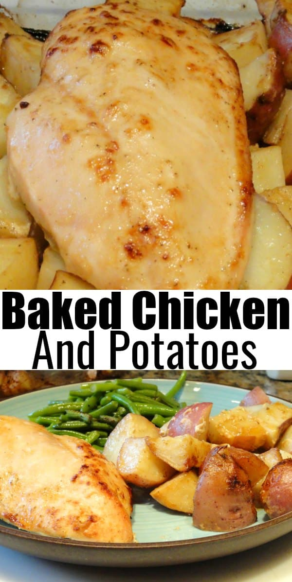 Baked Chicken and Potatoes is a super easy chicken dinner recipe! A favorite One Pan Chicken Dinner from Serena Bakes Simply From Scratch.