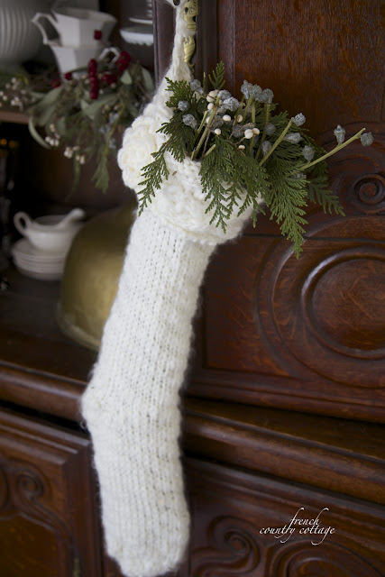 Knit stocking on antique buffet deux corps Christmas