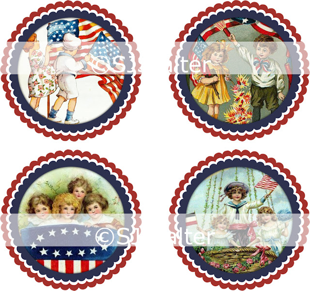 Patriotic 2 Inch Scalloped Circles Clip Art
