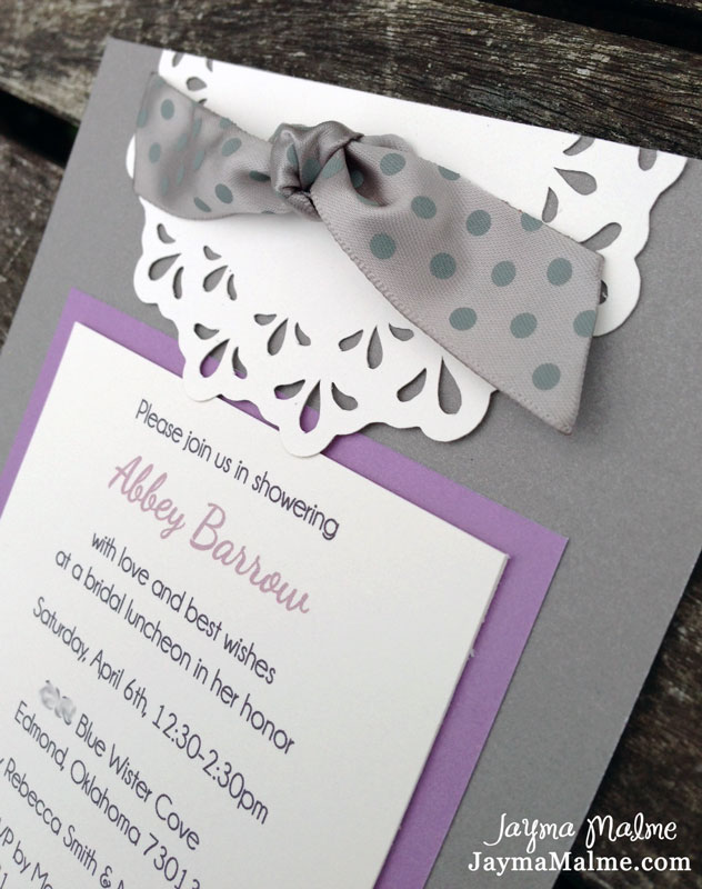 Slate Gray Lavender Bridal Shower Invitations With Artiste Cricut Cartridge