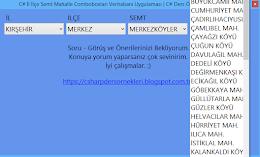 C# İl İlçe Semt Mahalle Comboboxları Seçimi Veritabanı SQL Uygulaması