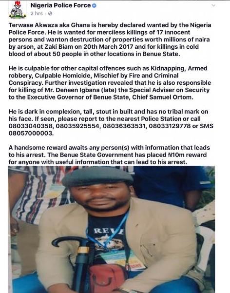 News-Portal Nigeria: Crime: Police declares Terwase 'Ghana' Akwaza