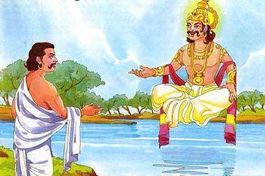 Yudhistira berbincang-bincang dengan Dewa Yama (ayahnya sendiri)