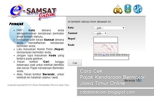 Catatan Ikrom Cara Cek Pajak Kendaraan Bermotor Jawa Timur Online
