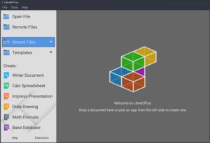 واجهة برنامج Libre Office