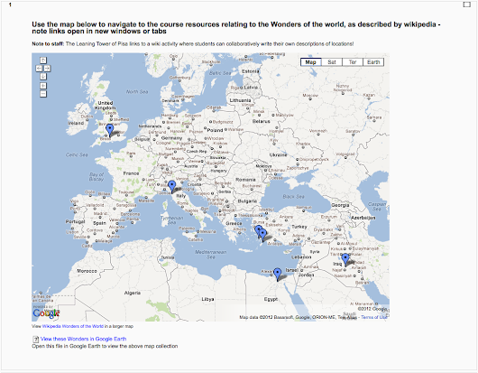 Deep integration of Google Maps into the Moodle course page