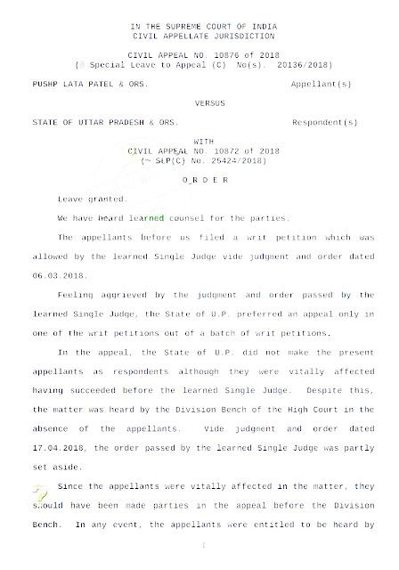 UPTET-2017 में 14 की जगह मात्र 3 प्रश्नों को गलत माने जाने सम्बन्धी डबल बैंच के फैसले को निरस्त करते हुए मा0 उच्चतम न्यायालय ने दिया सभी प्रतिवादियों को सुनकर पुनः फैसला देने का आदेश
