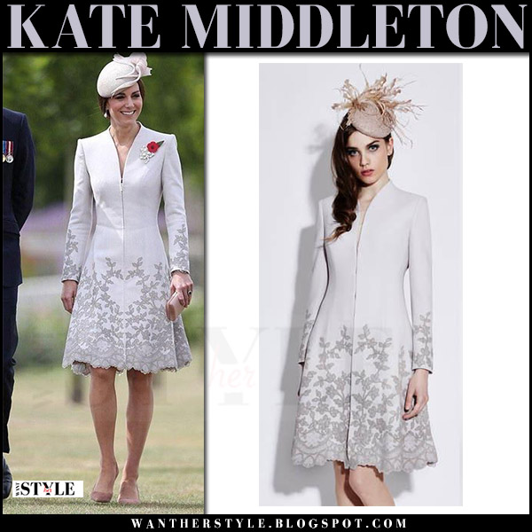 Kate Middleton in grey lace trim coat catherine walker what she wore july 31 2017 belgium