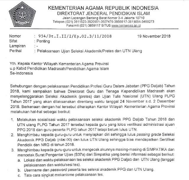 Pelaksanaan Ujian Seleksi Akademik/Pretes Dan Utn Ulang Kemenag 2018