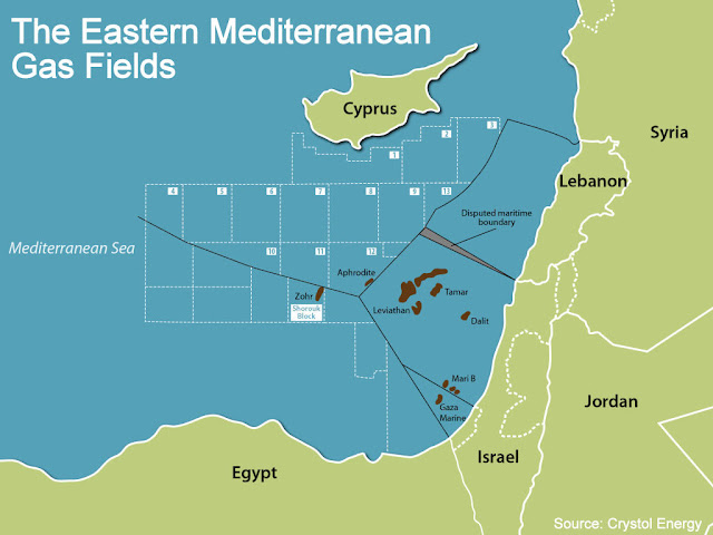 The Eastern Mediterranean Gas Fields / Source: Crystol Energy